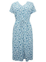 EX SEASALT Blue Cotton Rich Filed Poppy Dress Sizes 10, 12, 14, 16, 18, 20
