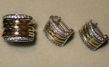TWO TONE Sterling Silver and 10K Gold Ring & Earrings (size O)