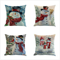 2018 Christmas Snowman Series Pattern Cushion Cover Pillow Case 45cm