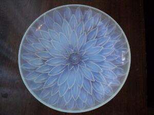 Antique Art Deco Etling France Pale Blue Opalescent Flora Bowl Lalique Style