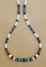 TURQUOISE & CORAL BEADED REAL HEISHE 4mm NECKLACE GENUINE GEMSTONE SILVER PLUS