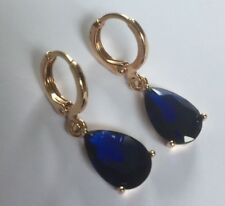 B 18k YELLOW GOLD Filled 28 x 8mm Sapphire Pear Drop Dangle Earrings Boxd PlumUK
