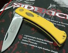 KUTMASTER LOCKBACK HUNTING POCKET KNIFE W/ SHEATH CASE UTICA !!!