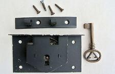 "old style BOX DOOR lock for Antiques doors furniture & brass key 4"" locks recess"