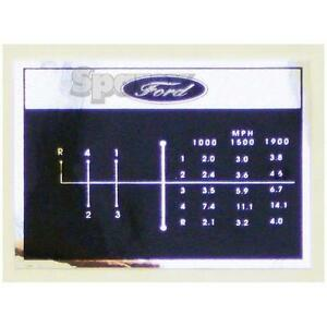 Gear Shift Pattern MPH Decal for Ford Tractor 4-Speed 2000 3000 3 cylinder 65-75