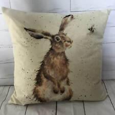 Rabbit Cushion Cover Countryside Watercolour Print Vintage Wildlife Animal Gift