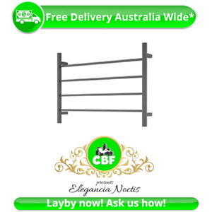 Square 4 Rung Bathroom Towel Ladder 500 x 700mm Stainless Matte Black Non Heated