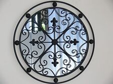 EXCELLENT REPRO BAROQUE ROUND  FRENCH  MIRROR ANTIQUE black 60cm   NEW
