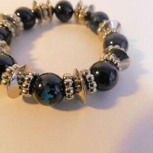 Stretchy Bracelet Bangle black & silver tone chunky beaded costume Jewellery