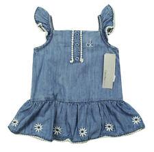 CALVIN KLEIN JEANS NEW INFANT GIRLS 2 PC BLUE DENIM ROMPER DRESS & HEADBAND 18M