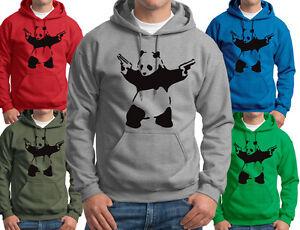Banksy Panda Hoodie funny panda with guns Mens Hooded Sweatshirts S-3XL