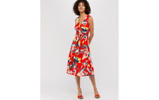 Monsoon Size 12 Dress Red Yellow Blue Jessie Floral Summer Dress