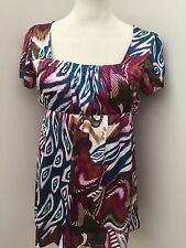 Corina - Multi-Coloured Square Beck Cap Sleeved Top / Blouse - Size 14 * New *