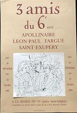APOLLINAIRE LEON PAUL FARGUE SAINT EXUPERY AFFICHE 1961