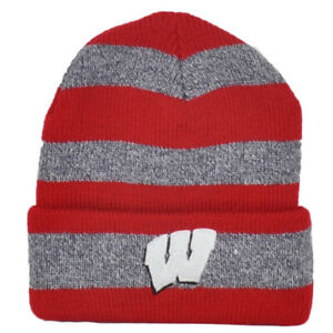 NCAA Captivating Headgear Wisconsin Badgers Striped Sport Cuffed Knit Beanie Hat