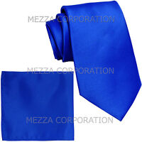 New formal men's necktie & hankie set solid color polyester party royal blue