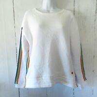 New Tracy Anderson G.I.L.I. French Terry Sweatshirt S White Rainbow Stripe Pride