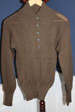 "Original U.S. Army ''Sweater, Mans 100% Wool, OD"" w/Five Button Collar 85 d Mint"