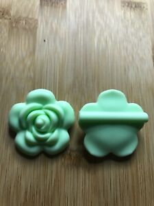 Silicone Flower 40mm Bead  Baby Teether  2pcs  BLUE AUS SELLER  BPA FREE