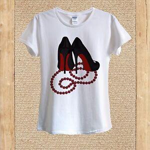 Red Bottom Black High Heels, Beads Necklace T-shirt 100% Cotton unisex women