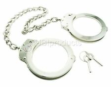 REAL Legcuffs NICKEL PLATED Double Lock LEG IRONS Shackles POLICE Leg Cuffs LGC1
