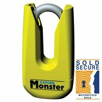 Oxford Monster Motorcycle Motorbike Disc Lock Shackle Thatcham Hi-Vis Yellow New
