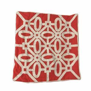 "Kim Seybert Pillow Sham Coral Canvas White Beads Zip Close 20 x 20"""