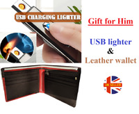 Gift for him brother boyfriend genuine leather wallet & USB Rechargeable Lighter