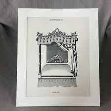 1900 Anglais Gothique Mobilier Chippendale Baldaquin Lit Original Antique