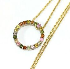 """10K YELLOW GOLD 16"""" Rope Chain Necklace, w/925 Syn. Stones Pendant: 7 GRAMS"""
