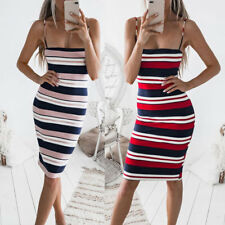 Casual Women Striped Sleeveless Spaghetti Strap Bodycon Dress Summer Sundress