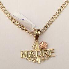 Madre 14K Yellow Gold Mama Mom Maa 1 Pendant Hallow 22 inch Cuban Chain