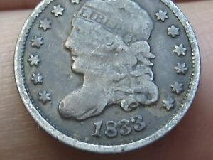 1833 Capped Bust Half Dime- VG Obverse Details