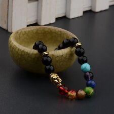 Golden Buddha Natural Stone Healing Balance Beaded Yoga Reiki 7 Chakra Bracelets