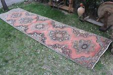 "3x13 Vintage Handmade Turkish Pink Oushak Runner Rug 13'8""x3'4"""