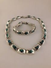 Bracelet Set Mexico Taxco 112 Grams Mosaic Fish Turquoise Sterling Necklace &