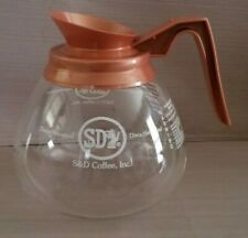 S&D Commercial Decaffeinated Glass Coffee Pot Decanter with Brown Handle