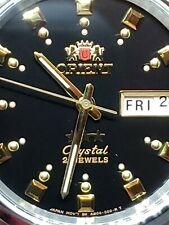 NEW-ORIENT 3 STAR MAN AUTOMATIC 21 JEWELS BLACK DIAL.free  gifts.