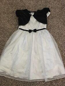 Jona Michelle Silver White Black Flower Girl Velvet Floral Stripe Dress 12 NWT