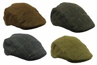 Mens Brand New Hunting Walking Fishing Fat Wool Flat Cap in Navy Brown Olive Cap