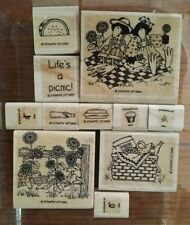 Stampin' Up LIFE'S A PICNIC Set 11 Rubber Stamps Lot Ladybug Sunflower Cupcake