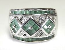 STUNNING  Natural Emerald & 20 Diamond Ring 13mm Wide Band 14K White Gold Size 7