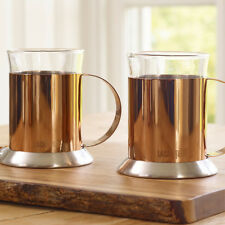 La Cafetiere Set of 2 Stainless Steel 200 ml Copper Glass Coffee Cups