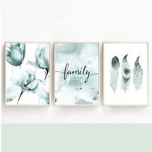 Bilderset MAGNOLIEN FAMILY LOVE Druck Bild Poster 3er SET PRINT Deko TÜRKIS
