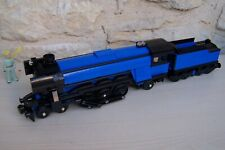 lego train emerald night 10194 with tender , modified .... black  and blue ....