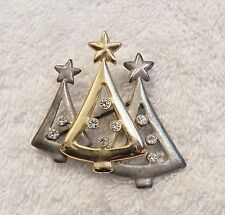PRE OWNED CHRISTMAS PIN BROOCH 3 DECORATED TREES SANTA LIGHTS ORNAMENTS SLE X17E