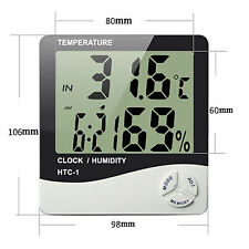 Digital HTC-1 LCD Temperature Humidity Meter Thermometer Desktop/Wall Clock