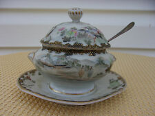 Asian Themed Porcelain Lidded Sugar Bowl With Attached Underliner And Spoon