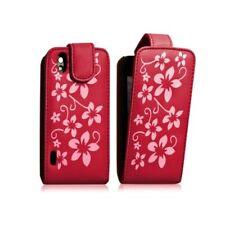 Housse coque étui fleur rouge pour LG Optimus Black + film protecteur