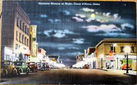 1940s Linen Postcard: Sherman Avenue at Night - Coeur d'Alene, Idaho ID